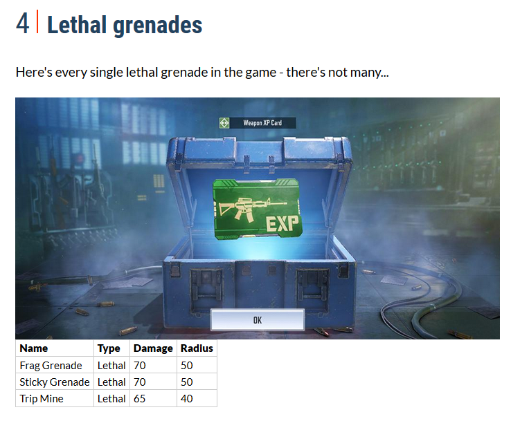 Call of duty mobile lethal grenades